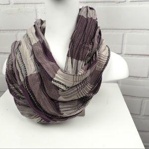 Pashmina purple gray silk cashmere plaid scarf